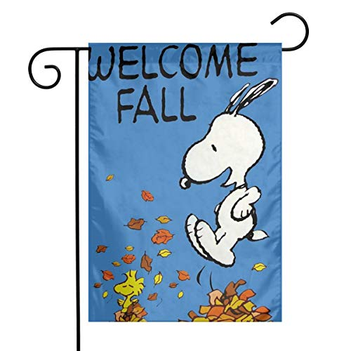 MOANDJI Garden Flag Yard Decorations - Custom Welcome Fall Snoopy Lawn Flag 12 X 18 Inches