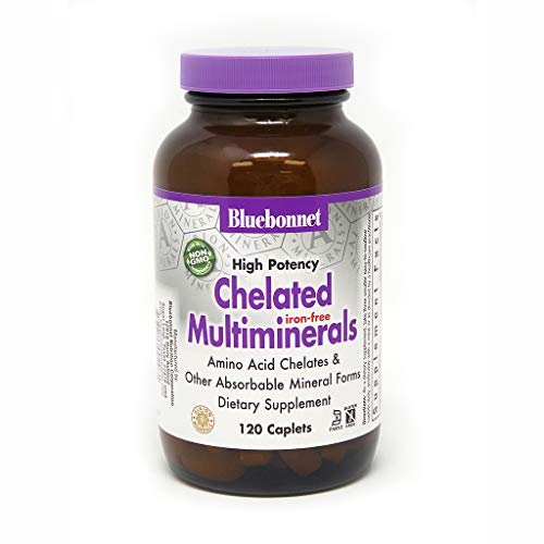 Bluebonnet Nutrition High Potency Chelated Multiminerals (Iron-Free) Caplets, 120 Count