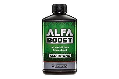 Growsartig ALFA Boost All-IN-ONE Pflanzen-Booster mit Triacontanol 0,5 Liter. Für Blüte, Wachstum und Bewurzelung. Steigert den Ertrag. Biozertifiziert, 100% organisch und vegan.