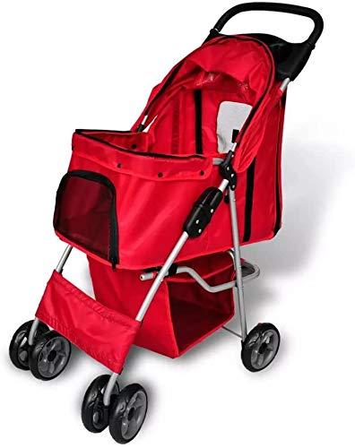 Haustierwagen Hund Katze Kleintierkäfig 4 Runden gefaltet leicht zu tragen, geeignet für Joggers, die Gehen,Red