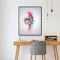 DIHEFA色の鳥の壁のキャンバスの絵画スプレーポスター抽象的な落書きオウム北欧スタイルの写真リビングルームの家の装飾のためにぶら下がっている 40x50cm [フレームなし]
