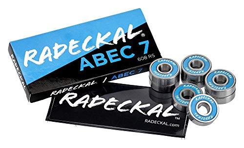 RADECKAL Blue ABEC 7 Skateboard Bearings, Skateboards, Longboards, Cruisers, Inline Skates, Roller Skates, Pre-Lubricated, High Precision Rating, Long Lasting (1 Set of 8)…