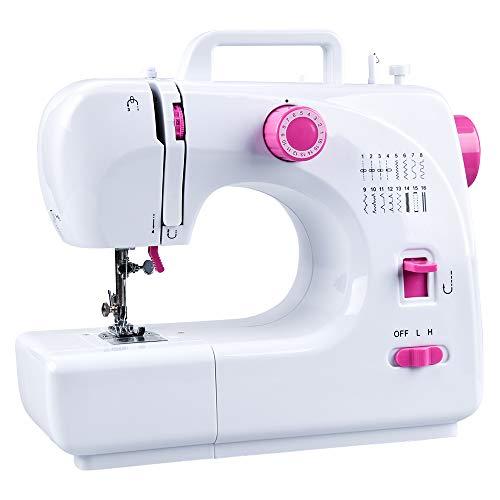 JRing Máquina de coser con 16 programas de costura, pedal de pie, brazo libre, máquina de coser eléctrica, velocidad ajustable, máquina de coser profesional para tejidos gruesos