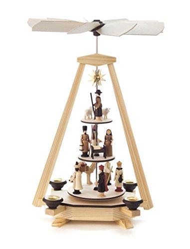 Pyramide modern, Christi Geburt und Krippe, 3-stöckig, für Kerzen, von DREGENO SEIFFEN 34 cm – Original erzgebirgische Handarbeit, Weihnachtsdekoration