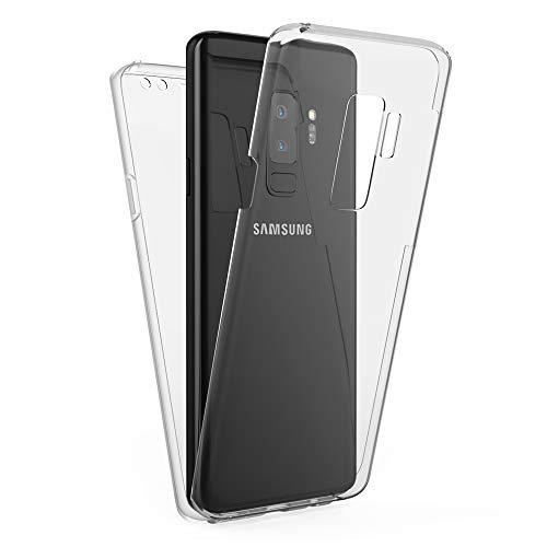 Kaliroo Handyhülle 360 Grad kompatibel mit Samsung Galaxy S9 Plus, Full-Body Schutzhülle Hardcase hinten und Bildschirmschutz vorne mit Silikon Bumper, Full-Cover Hülle Komplett-Schutz Hülle - Transparent