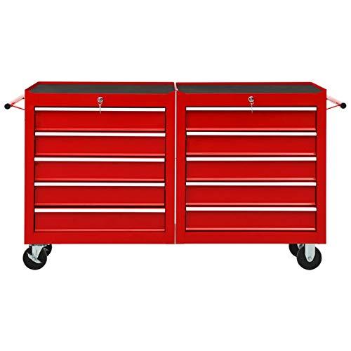 Tidyard Werkstattwagen, Werkstattwagen auf Rollen mit 10 Schubladen, Abschließbar, Feststellbremse, Stahl, Rot