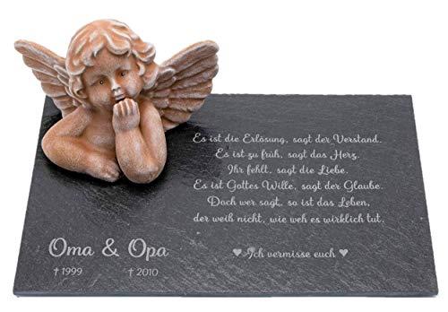 Tiefes Kunsthandwerk Grabschmuck Engel mit Wunschtext als Gravur, wunderschöne Erinnerung für Dein Zuhause oder als Gedenkstein, Grabstein (2. Terrakotta)