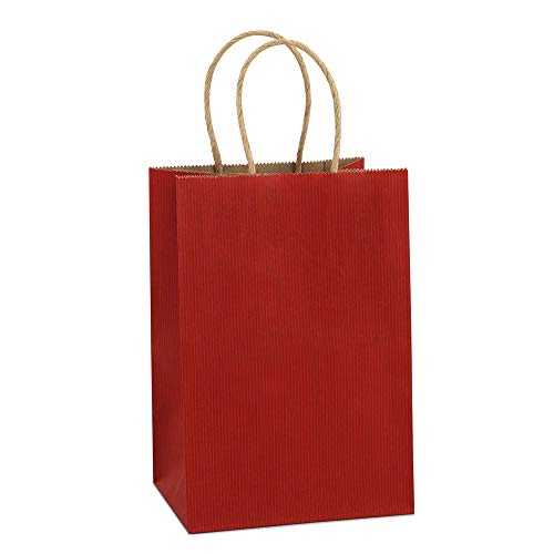 BagDream Kraft Paper Bags 25Pcs 5.25x3.75x8 Inches Small Paper Gift Bags with Handles Shopping Bags, Kraft Bags, Red Stripes Party Bags