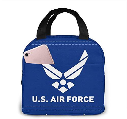 Air Force Logo Bolsa de almuerzo aislada portátil con cremallera y bolsillo frontal, caja impermeable para mujeres, hombres, niños, niñas, oficina, escuela, senderismo, playa, picnic, pesca