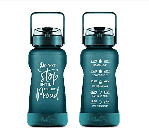 Half Gallon Water Bottle with with Time Markings & Straw, Big BPA Free 77 Oz / 2.2L Motivational Jug , Large Botellas Para Agua for Fitness Drinking for Adults and Teens (Dark Green) by Phoetya