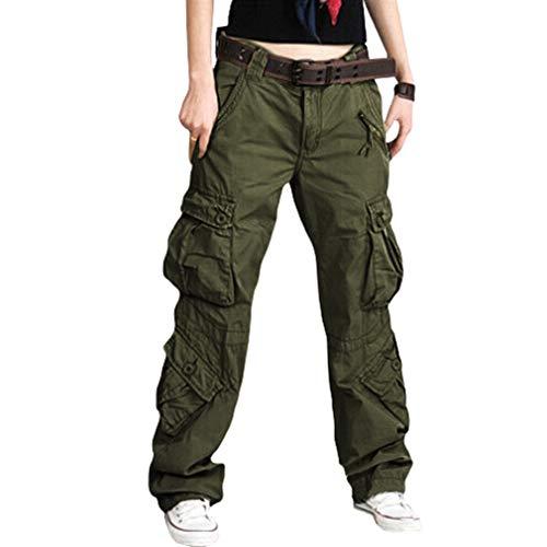 Mxssi Pantaloni Cargo da Donna - Ladies Multi-Pocket Combat Pantalone Comodo Pantaloni Lunghi Outdoor Pantaloni da Trekking Camping Alpinismo Pantaloni