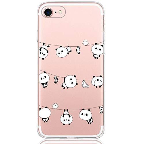 Compatible con iPhone 7, carcasa de silicona transparente con diseño de dibujos animados, funda protectora de serie de animales, anticaídas, flexible, de goma 5 Talla única