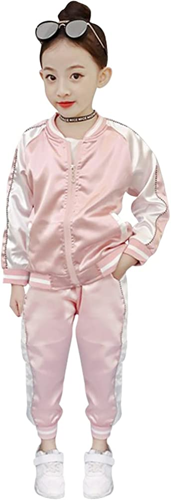 LPATTERN Track Suit Kids Girls Sweatshirt Casual Autumn Lightweight Jacket Pants Two-piece Sports Suits for 3-14Y