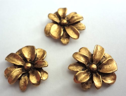 Antique Gold Metal Spring Flowers T-506MG Set of 15