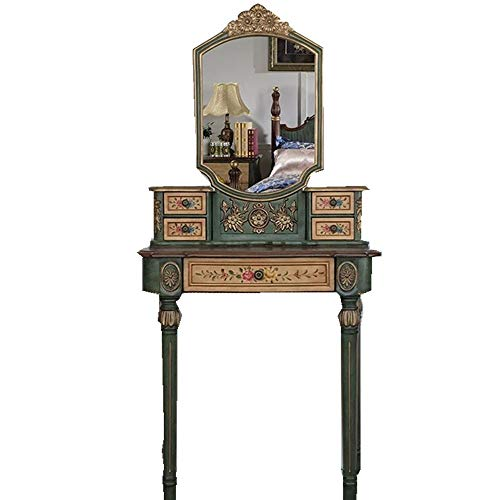 Buy Discount ChenyanAwesom Dressing Tables European and American Style Small Dressing Table Small Apartment Bedroom Furniture Solid Wood Dressing Table Painted Table White Green for Bedroom Dressing Room