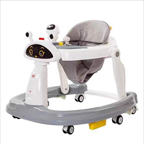 XH&XH Andador Plegable antivuelco para bebés Seis andadores universales con Ruedas para bebés con Bandeja de fácil Limpieza para niñas, niños, 6-18 Meses, niños pequeños