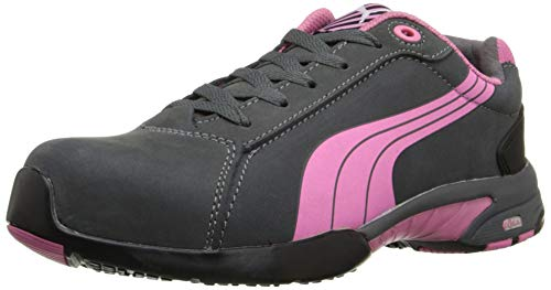 Puma Safety Pink/Grey Womens Leather Balance Low ST Oxford Work Shoes 8