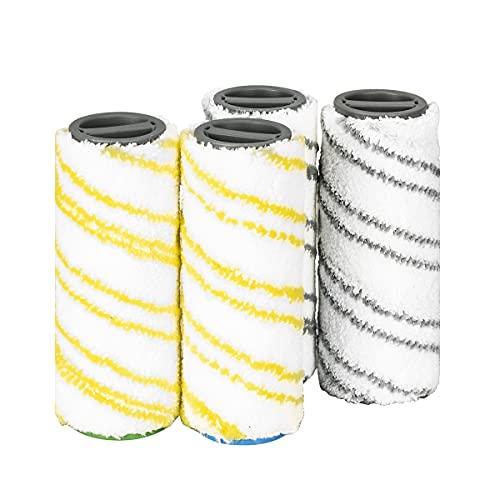 DrRobor Cepillos de Rodillo para Karcher FC7 FC3 FC5 Fregadora Eléctrica Sin Cable con Cable Premium Aspiradora 2.055-007.0/2.055-006.0(Gris+Amarillo)