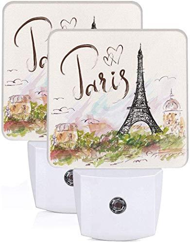 Paquete de 2 lámparas LED de luz nocturna dibujadas a mano de la Torre Eiffel de París con el atardecer al amanecer Auto Motion Senor para leer cuarto de baño, dormitorio, guardería, EU Jack