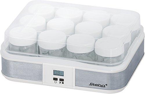 Steba JM 2 Jogurtbereiter | Timerfunktion mit Endabschaltung für die perfekte Konsistenz | Betriebskontrollleuchte | LCD Display | 12 - Glas Joghurtbecher mit Deckel à 0,21 Liter | 2,5 Liter Gesamt