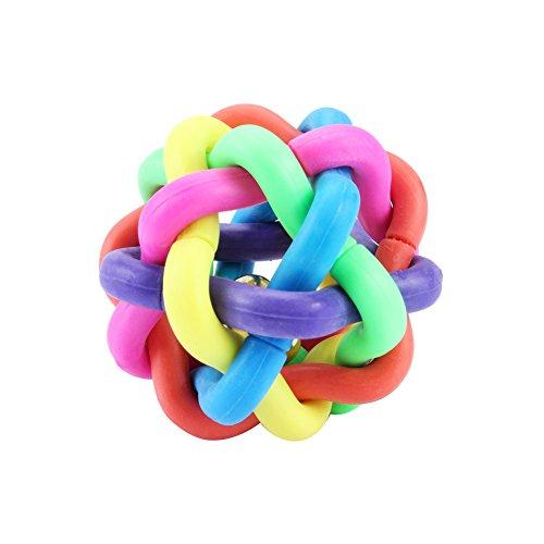 犬用 噛むおもちゃ 歯磨きボール 噛むボール 中小型犬猫用 知育玩具 歯垢除去玩具 運動不足やストレス解消 カラフル 鈴が付く
