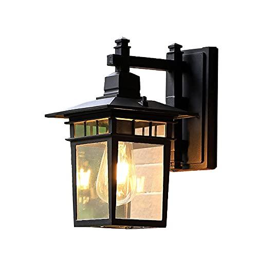 Kangl Lámpara de pared Mid-Century para exteriores, retro industrial LED negro, impermeable, de aluminio a prueba de herrumbre, apliques de pared, iluminación de patio y jardín, lámparas de decoración