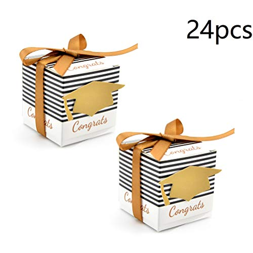 24pcs Graduation Gift Box Graduation Cap Shaped Candy Boxes Sugar Chocolate Box Graduation Party Favor