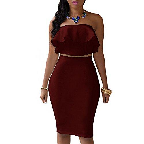 SEBOWEL Women's Ruffle Crop Top Maxi Skirt Set 2 Piece Outfit Bandage Nightclub Dress, Wine Red, XXL