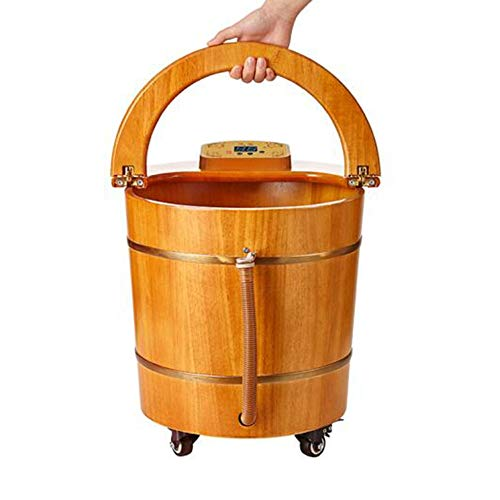 Best Review Of QY Foot Bucket Wooden Barrel Oak Foot Tub Surf Massage Bucket Foot Bath Barrel Insula...