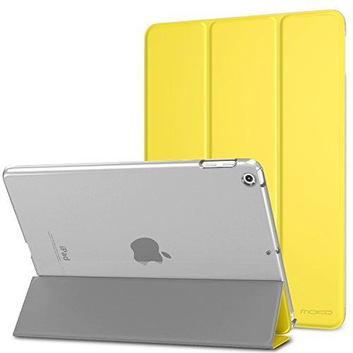 MoKo Funda para 2018 2017 iPad 9.7 6th 5th Generation - Ultra Slim Función de Soporte Protectora Plegable Smart Cover Trasera Transparente Durable - Limón Amarillo (Auto Sueño Estela)