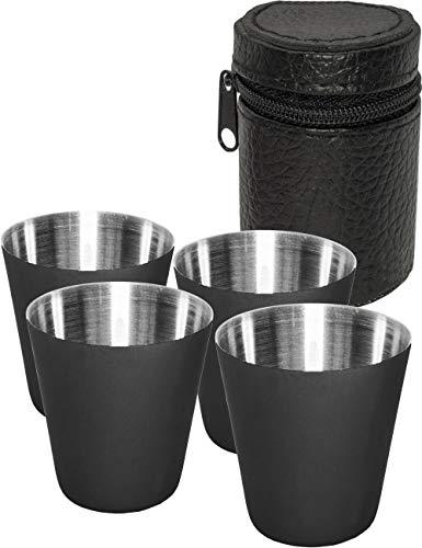 Outdoor Saxx® - 5-teiliges Edelstahl-Becher, Trink-Becher Set, 4 Schnaps-Becher Schnaps-Gläser aus Metall, Metall-Becher mit Leder-Tasche, ideales Flachmann-Zubehör, schwarz