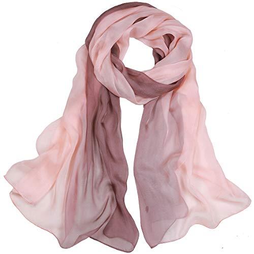 Silke scarf tonade färger halsdukar 100 % siden långa lätta solskydd sjalar för kvinnor
