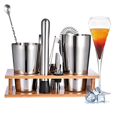 Frifer Juego de coctelera con soporte, 800/600 ml, 11 unidades, acero inoxidable, para casa, bebidas, barman, mezclas, regalo de inauguración de la casa