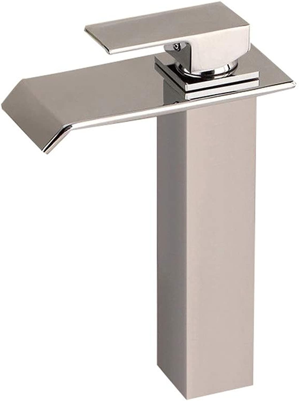 Fanxu Bad Wasserhahn Vernickelt Weithals Wasserfall Bad Waschbecken Wasserhahn, Einhand Waschbecken Wasserhahn