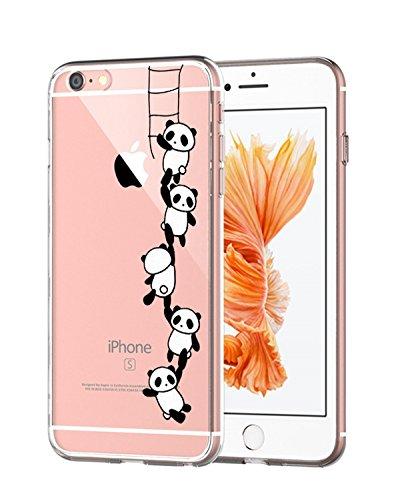 AIsoar iPhone 6 Plus Custodia, iPhone 6s Plus Cover TPU Bello Gatto Popolari Case Anti-Scratch Gel Silicone Custodia per iPhone 6 Plus   6s Plus 5.5   (Panda Climbing)