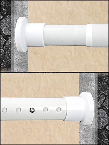 HoFactory Gardinenstange ohne Bohren 210-260cm Weiß belastbare Klemmstange zum Ausziehen - Vorhangstange, Teleskopstange - für ihre Gardinen, Trennwand und Balkon