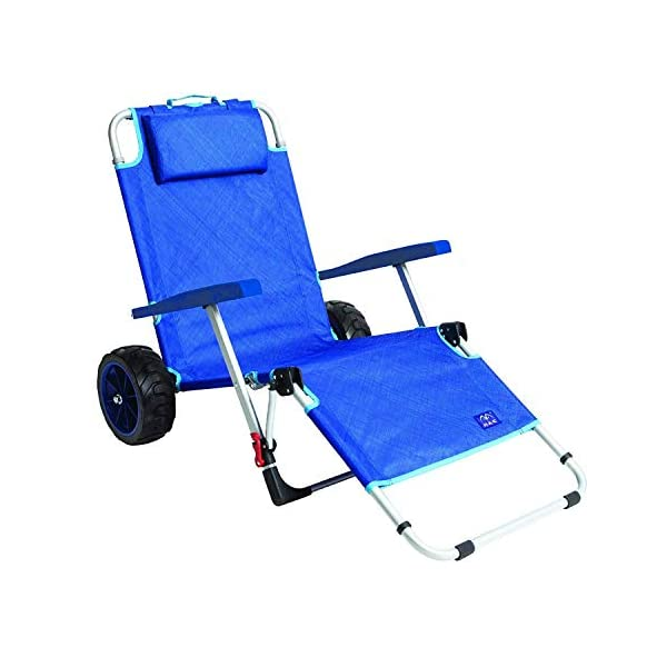 MacSports Beach Day Foldable Chaise Lounge Chair with Integrated Wagon Pull Cart Combination and Heavy Wheels – Perfect for Beach, Backyard, Pool or Picnic
