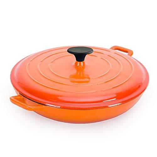 SHUHAO Casserole en Fonte Ovale, Cocotte en Fonte braisage, Non Revêtement émail bâton, Une Bonne étanchéité, légère, pour Tous Source de Chaleur, Fonte du Corps Pot de Fer Pot Soupe 3.5 L,Orange