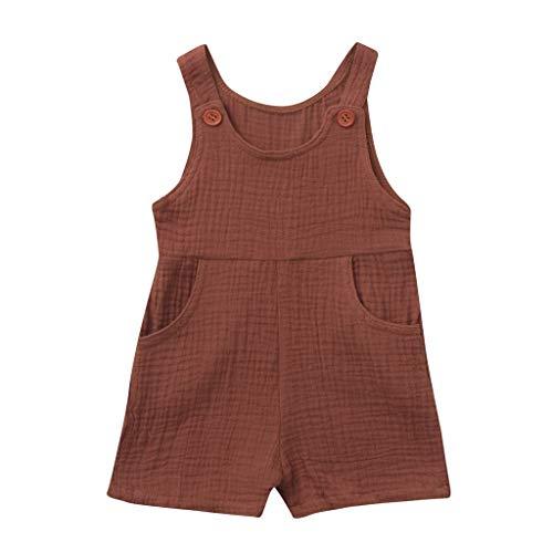 JUTOO Sommer Kleinkind Neugeborenen Kinder Baby Jungen Mädchen Einfarbig Spielanzug Overall Kleidung (Kaffee 1,80)