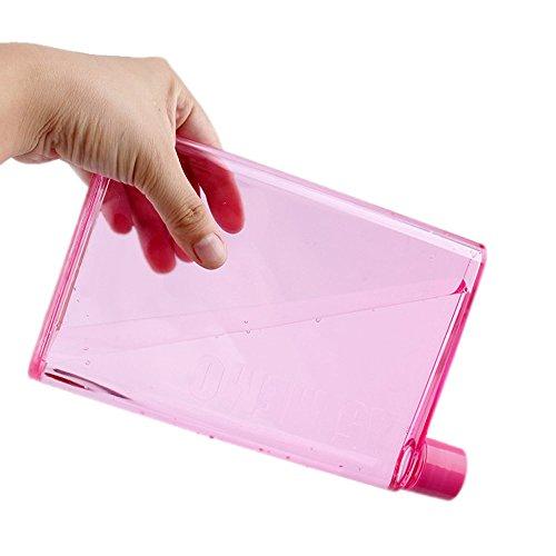 MKLEUTPS Wasserflasche Clear Book Tragbares Papierkissen Wasserflasche Flache Getränke Tasse Wasserkocher