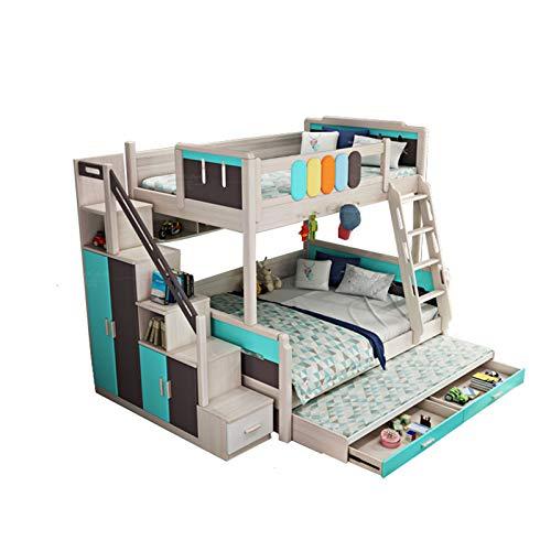 JTJxop Literas De Madera Maciza, Dormitorio De Madera con Litera Doble para Niños con Barandilla y Escalera, Estante para Libros, Diseño De Cajones y Ahorro De Espacio Cuadros Azules El 120x190cm