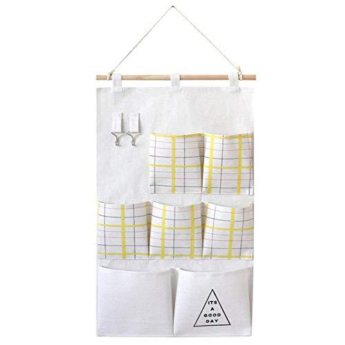 Tongnian Bolsa de almacenamiento para colgar en la pared, puerta o habitación, impermeable, organizador de armario, tela de lino, bolsillos anchos para dormitorio, baño, cocina