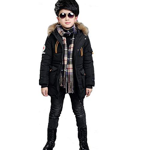 SXSHUN Niños Chaqueta de Invierno con 2 Cremalleras Abrigo Acolchado con Capucha de Pelo, Negro, 11 años (Etiqueta: 150cm)