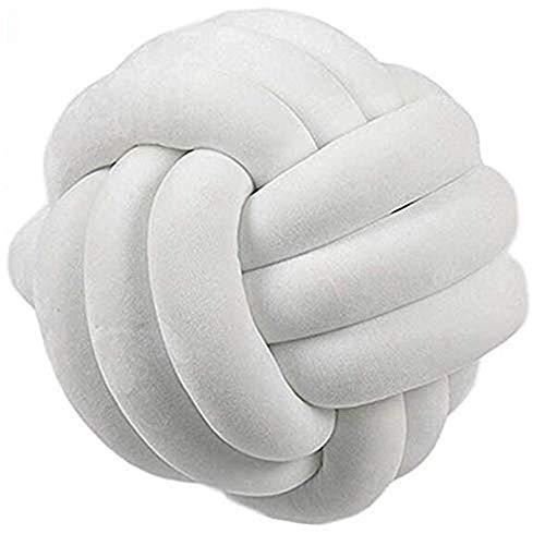 Hava Kolari Knot Kopfkissen Knotenkissen Plüsch Kissen Weiche Geknotetes Kissen Knoten Ball Kissen Dekor Bett Zimmer (20cm Durchmesser,Weiß)