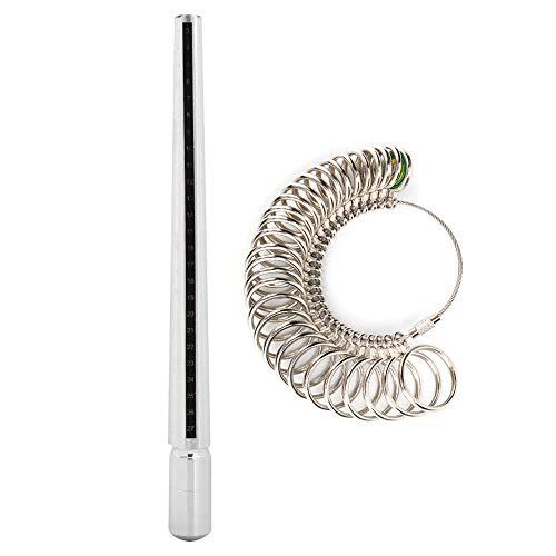 Messung des Ringfingerdurchmessers, Messung des Fingerringmessgeräts, Dorn + Ringmessgerät, für Arbeiter in der Schmuckherstellung und Schmuckverarbeitung