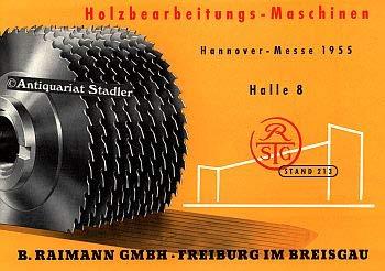 Holzbearbeitungsmaschinen. Hannover-Messe 1955, Halle 8, Stand 213. Firmenprospekt.