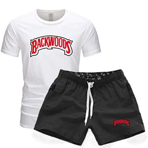 GIRLXV Ropa Deportiva De Entrenamiento De Entrenamiento De Manga Corta para Hombre Camiseta Backwoods Pantalones Cortos De Cinco Puntos Traje Deportivo Estampado XXL