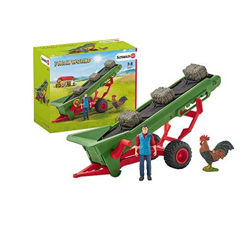 Schleich 42377 Farm World play set - transportador de heno con el granjero, juguetes a partir de 3 años