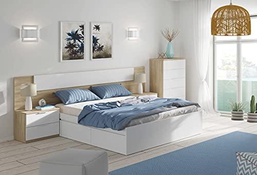 Miroytengo Habitación Matrimonio Completa Color Roble y Blanco Estilo nórdico (Cama + cabecero + 2 mesitas + cómoda)
