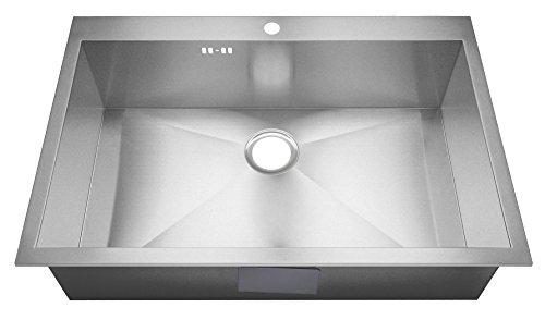 Lavello, misura XL, realizzato a mano, con raggio zero, rettangolare. Lavandino da cucina Acciaio inox spazzolato. Lavello da incasso. DS027.